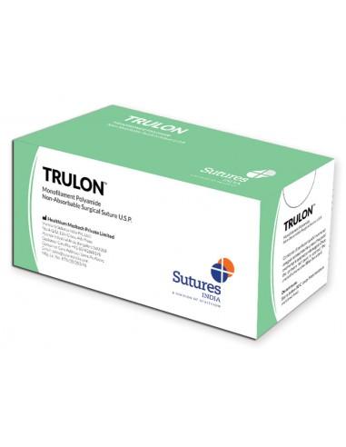SUTURE TRULON NON RÉSORB. calibre 6/0 forme 3/8 aiguille 12 mm - 45 cm - bleu