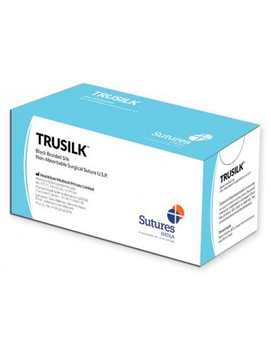 TRUSILK NON ABSORB. SUTURE gauge 2/0 circle 1/2 needle 19 mm - 75 cm - black
