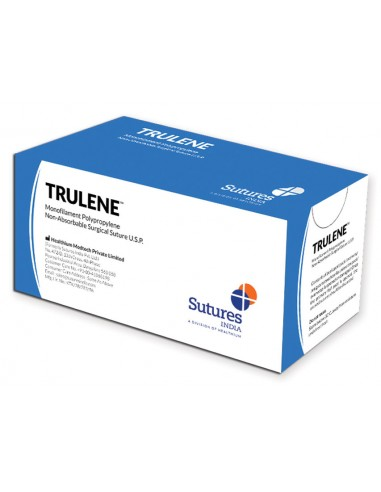 TRULENE NON ABSORB. SUTURE gauge 0 circle 1/2 needle 30 mm - 70 cm - blue