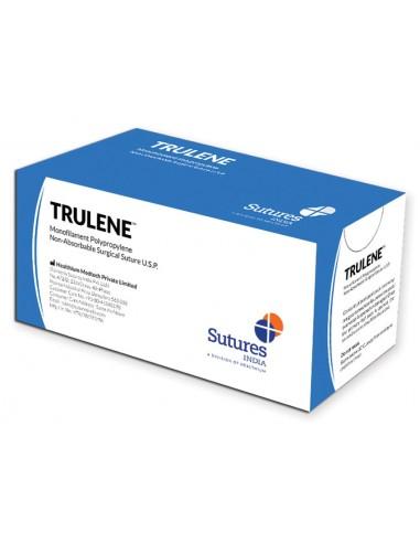 TRULENE NON ABSORB. SUTURE gauge 5/0 circle 3/8 needle 19 mm - 70 cm - blue