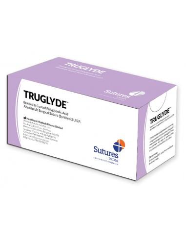 SUTURE TRUGLYDE RÉSORB. calibre 4/0 forme 3/8 aiguille 19mm - 45cm - violet