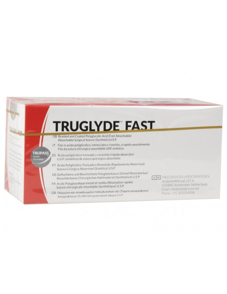 TRUGLYDE FAST ABSORB. SUTURE gauge 4/0 circle 3/8 needle 20mm - 75cm - undyed
