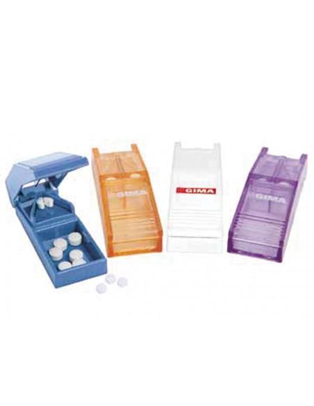 COUPE-COMPRIMÉS COLORÉS (3 blancs, 3 bleu clair, 3 lavande, 3 orange transparent) avec présentoir