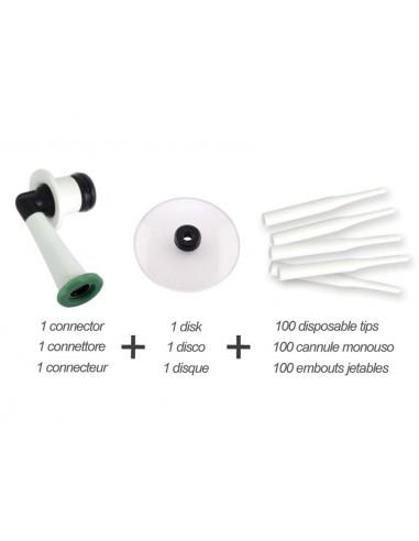 JEU EMBOUTS JETABLES (100 embouts jetables, 1 disque, connecteur)