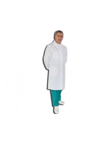 TABLIER MÉDICAL BLANC - coton - unisexe boutons-pression taille 44