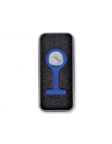 SILICONE NURSE WATCH with aluminium box - round - blue
