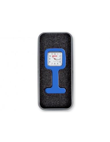 SILICONE NURSE WATCH with aluminium box - square - blue