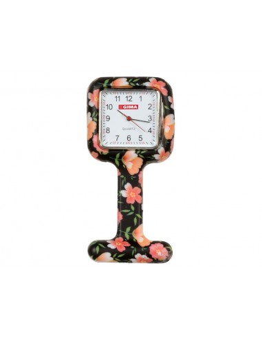 SILICONE NURSE WATCH - square - roses