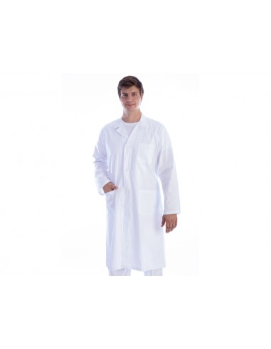 TABLIER MÉDICAL BLANC - coton/polyester - homme taille M
