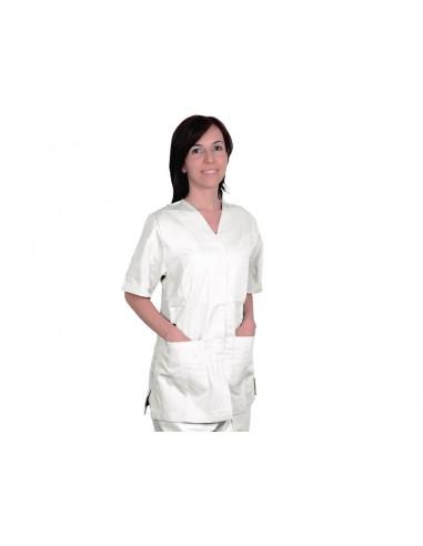 VESTE À BOUTONS PRESSION - coton/polyester - unisexe L blanche