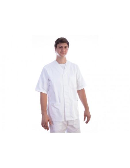 VESTE À BOUTONS PRESSION - coton/polyester - unisexe XL blanche