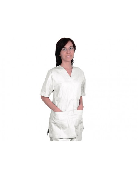 JACKET WITH STUD - cotton/polyester - unisex XXL white