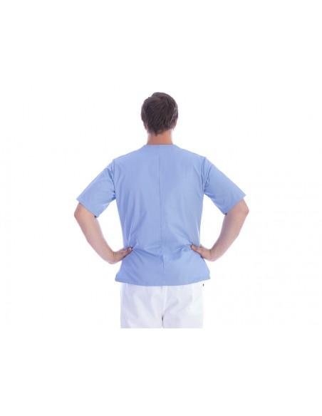 VESTE À BOUTONS PRESSION - coton/polyester - unisexe S bleu clair
