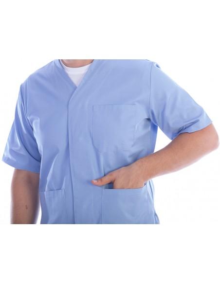VESTE À BOUTONS PRESSION - coton/polyester - unisexe M bleu clair