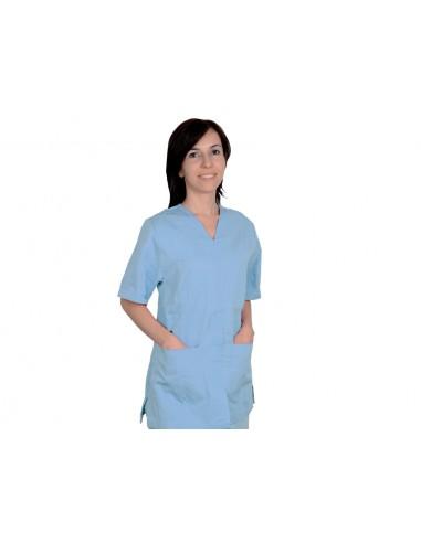 JACKET WITH STUD - cotton/polyester - unisex L light blue