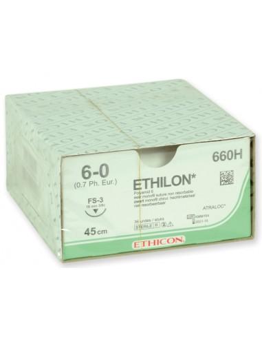 ETHICON ETHILON MONOFILAMENT SUTURES - gauge 6/0 needle 16 mm