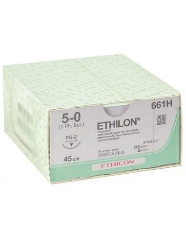 ETHICON ETHILON MONOFILAMENT SUTURES - gauge 5/0 needle 19 mm