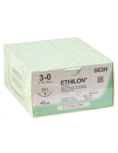ETHICON ETHILON MONOFILAMENT SUTURES - gauge 3/0 needle 24 mm