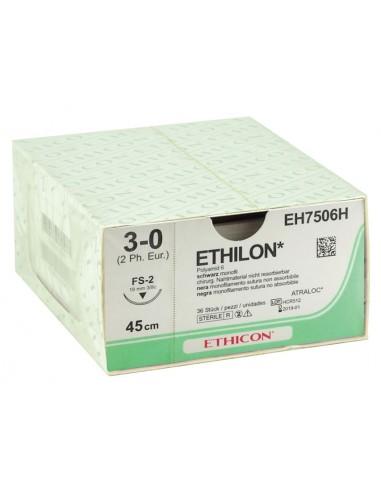SUTURES MONOFILAMENT ETHICON ETHILON - capacité 3/0 aiguille 19 mm