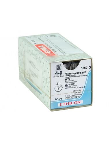 ETHICON PERMA-HAND SILK SUTURES - gauge 4/0 needle 17 mm - braided