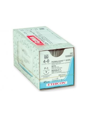 SUTURES ETHICON PERMA-HAND SILK - capacité 4/0 aiguille 13 mm - tressé