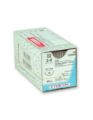 ETHICON PERMA-HAND SILK SUTURES - gauge 3/0 needle 22 mm - braided