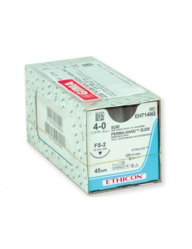 ETHICON PERMA-HAND SILK SUTURES - gauge 4/0 needle 19 mm - braided