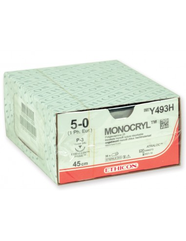 ETHICON MONOCRYL ABSORBABLE SUTURES - gauge 5/0 needle 13 mm