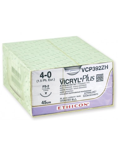 ETHICON VICRYL PLUS ABSORBABLE SUTURES - gauge 4/0 needle 19 mm - braided