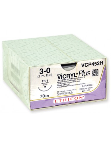 ETHICON VICRYL PLUS ABSORBABLE SUTURES - gauge 3/0 needle 24 mm - braided