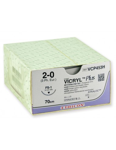ETHICON VICRYL PLUS ABSORBABLE SUTURES - gauge 2/0 needle 24 mm - braided