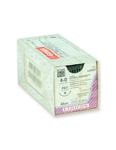 ETHICON VICRYL RAPID ABSORBABLE SUTURES - gauge 4/0 needle 19 mm - braided