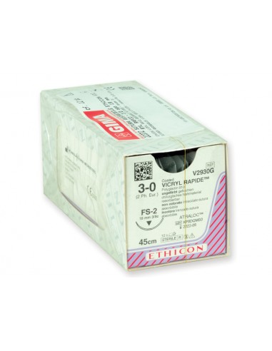 ETHICON VICRYL RAPID ABSORBABLE SUTURES - gauge 3/0 needle 19 mm - braided