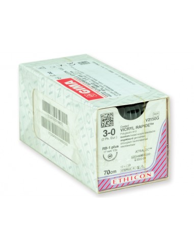 ETHICON VICRYL RAPID ABSORBABLE SUTURES - gauge 3/0 needle 17 mm - braided
