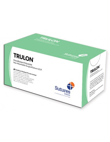 TRULON NON ABSORB. SUTURE gauge 5/0 circle 3/8 needle 19 mm - 70 cm - blue